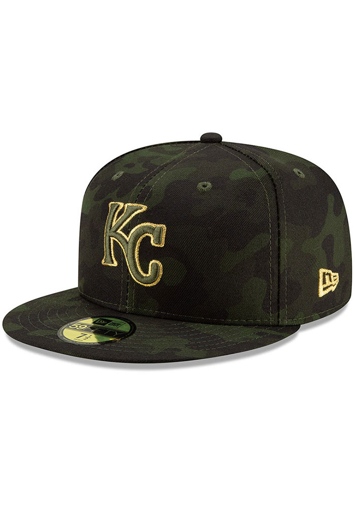 New Era Kansas City Royals Mens Green 2019 Armed Forces Day 59FIFTY Fitted Hat - Image 1