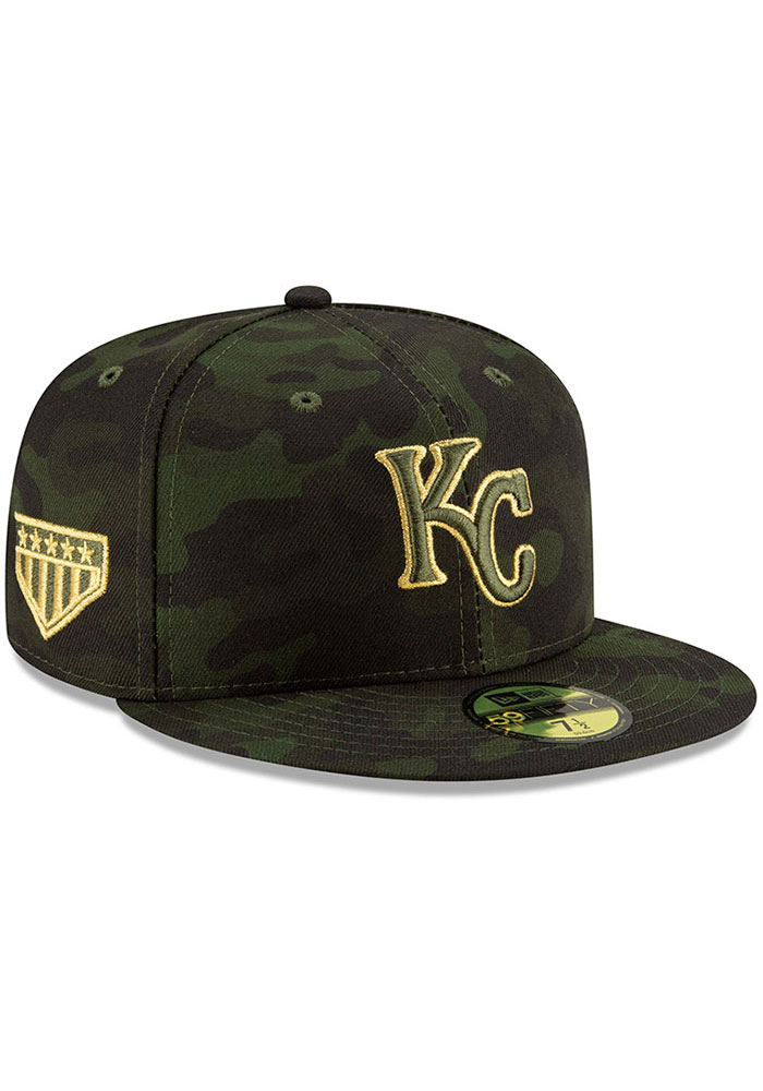 New Era Kansas City Royals Mens Green 2019 Armed Forces Day 59FIFTY Fitted Hat - Image 2