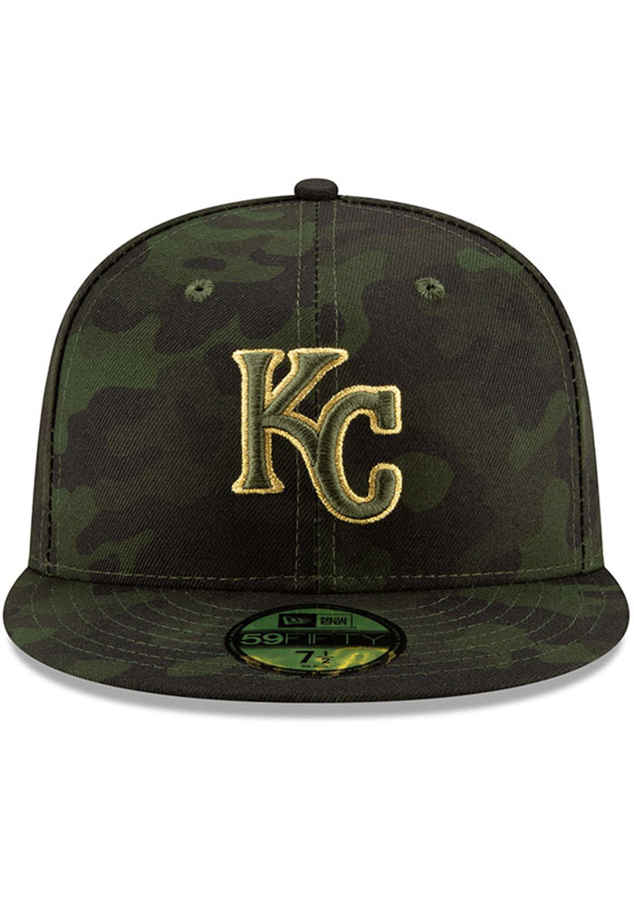 New Era Kansas City Royals Mens Green 2019 Armed Forces Day 59FIFTY Fitted Hat - Image 3
