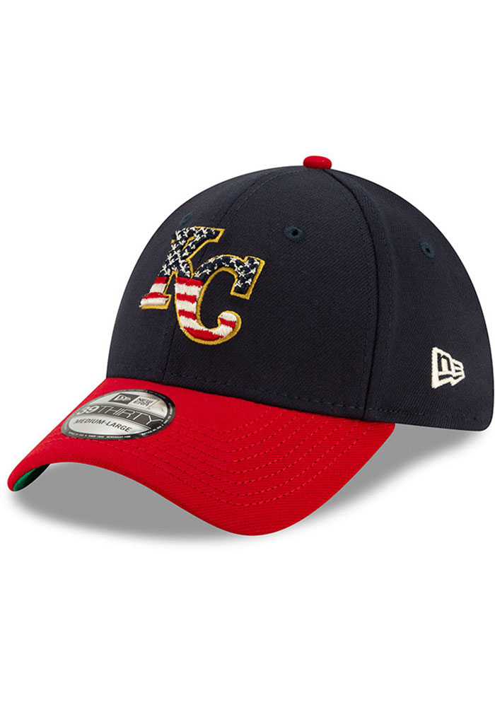 New Era Kansas City Royals Mens Navy Blue 2019 4th of July 39THIRTY Flex Hat - Image 1