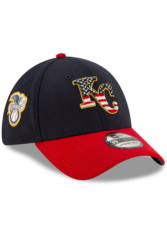 New Era Kansas City Royals Mens Navy Blue 2019 4th of July 39THIRTY Flex Hat - Image 2