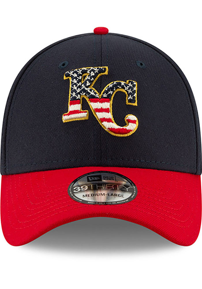 New Era Kansas City Royals Mens Navy Blue 2019 4th of July 39THIRTY Flex Hat - Image 3