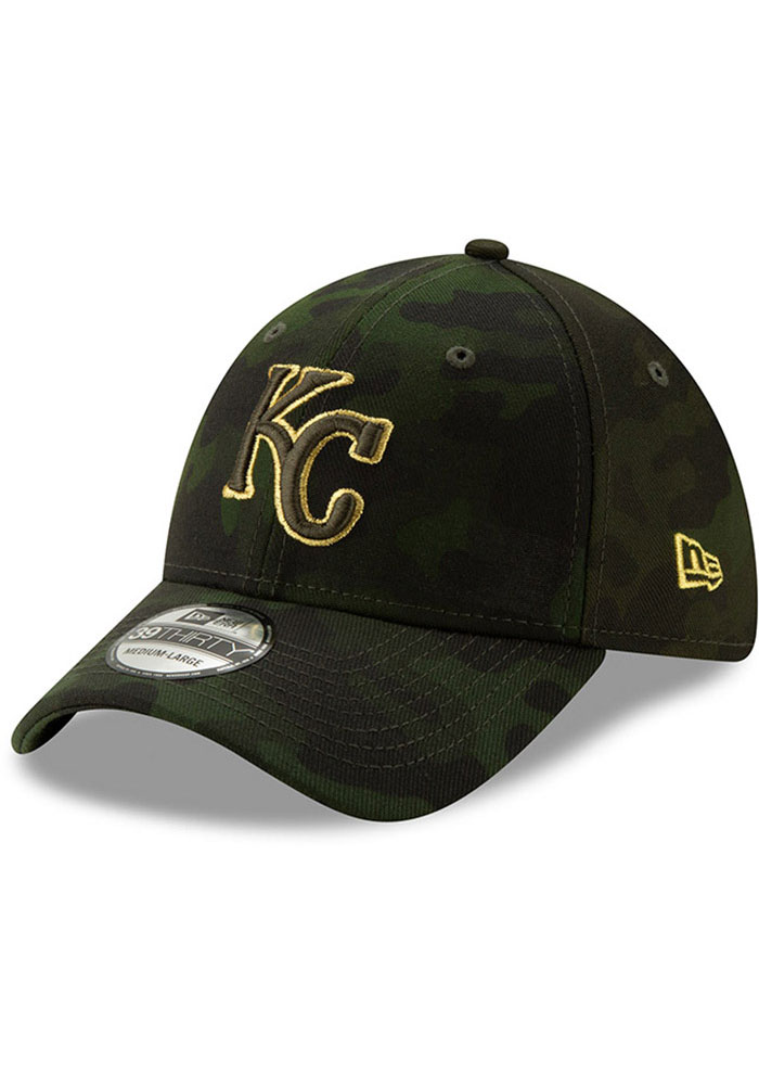 New Era Kansas City Royals Mens Green 2019 Armed Forces Day 39THIRTY Flex Hat - Image 1