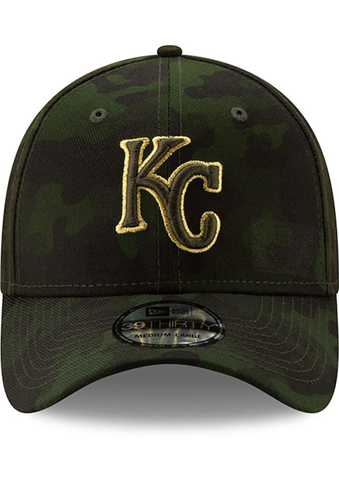 New Era Kansas City Royals Mens Green 2019 Armed Forces Day 39THIRTY Flex Hat - Image 3