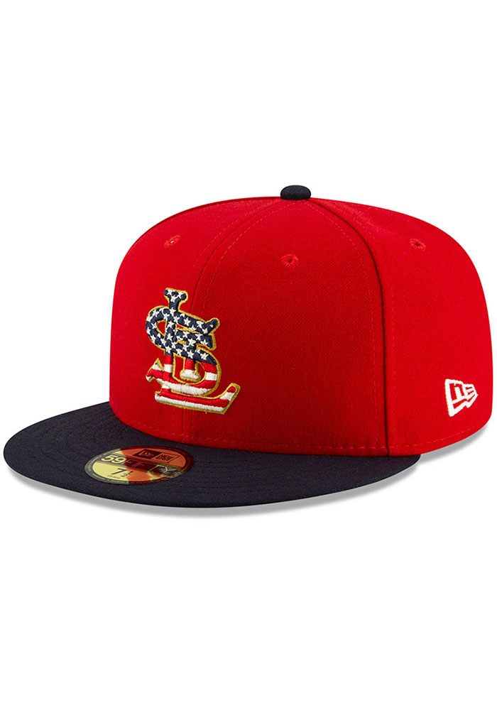 New Era St Louis Cardinals Mens Navy Blue 2019 4th of July 59FIFTY Fitted Hat - Image 1