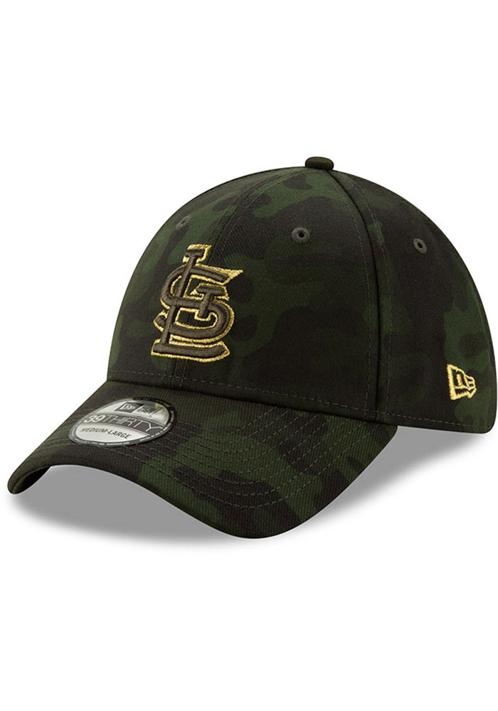 New Era St Louis Cardinals Mens Green 2019 Armed Forces Day 39THIRTY Flex Hat - Image 1