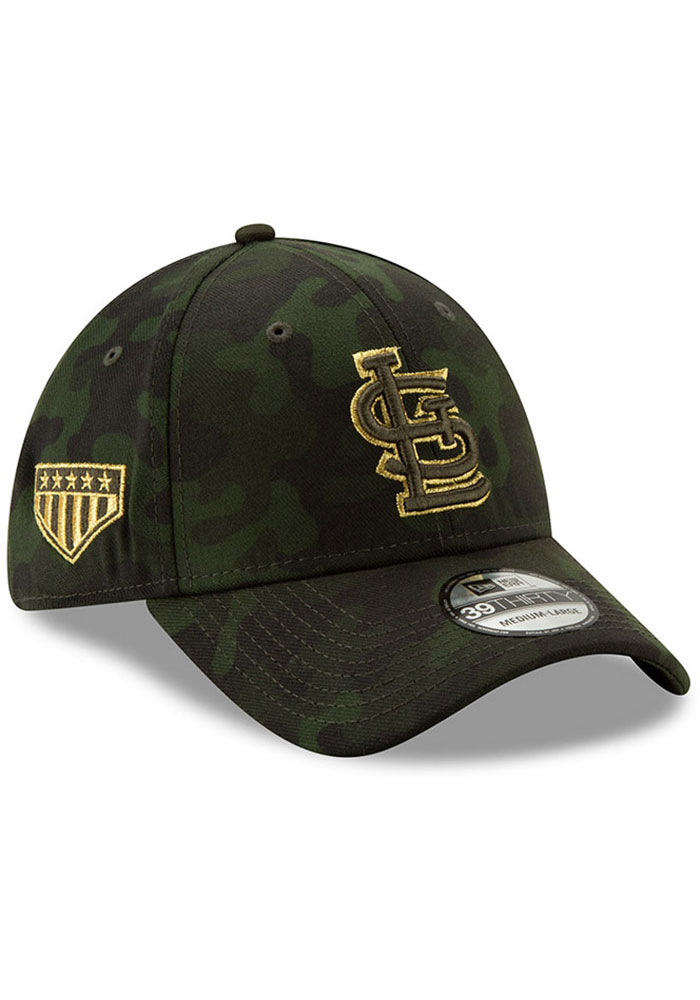 New Era St Louis Cardinals Mens Green 2019 Armed Forces Day 39THIRTY Flex Hat - Image 2
