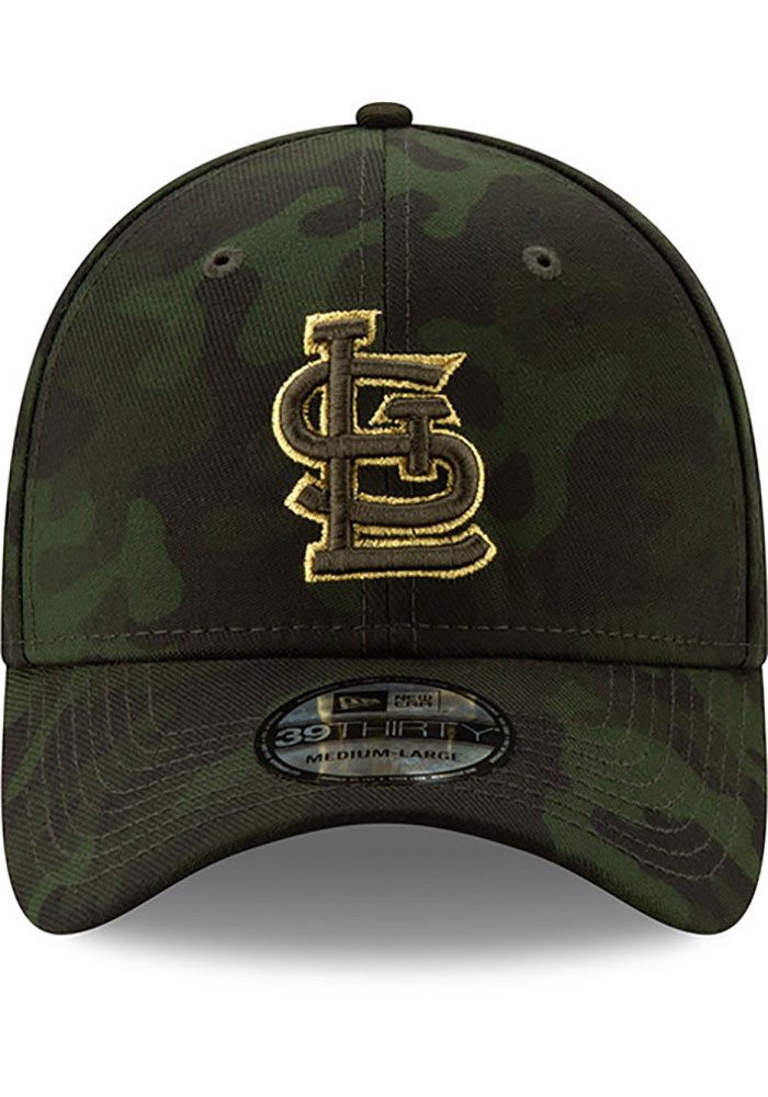 New Era St Louis Cardinals Mens Green 2019 Armed Forces Day 39THIRTY Flex Hat - Image 3