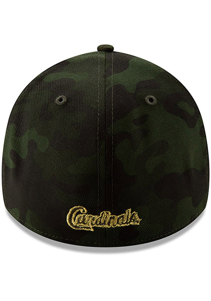 New Era St Louis Cardinals Mens Green 2019 Armed Forces Day 39THIRTY Flex Hat - Image 5