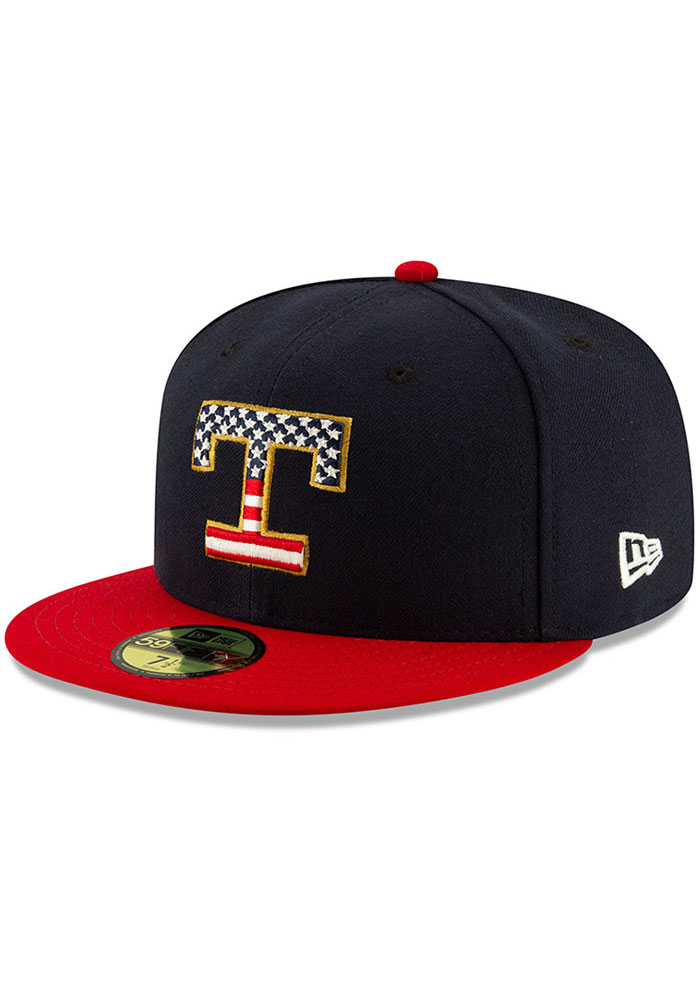 New Era Texas Rangers Mens Red 2019 4th of July 59FIFTY Fitted Hat - Image 1