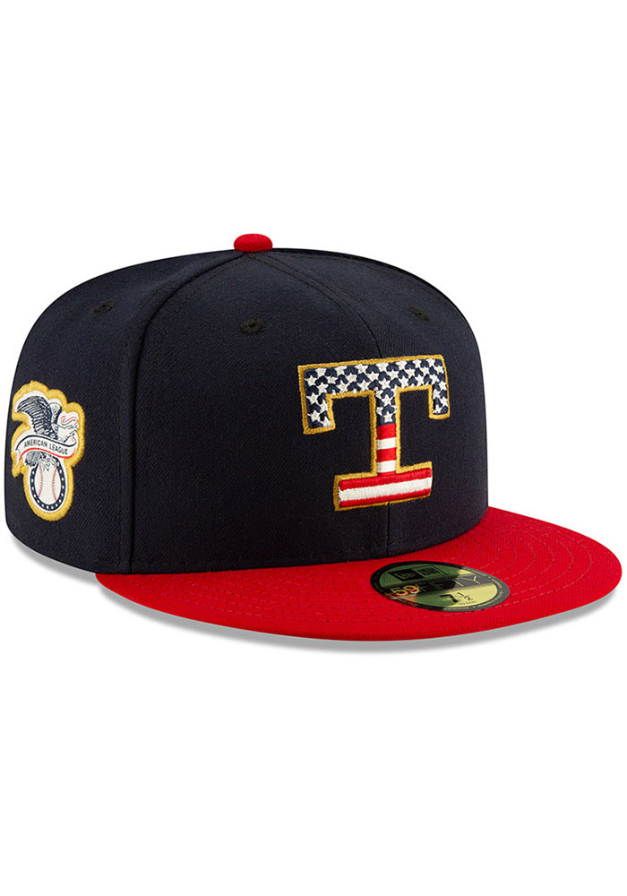 New Era Texas Rangers Mens Red 2019 4th of July 59FIFTY Fitted Hat - Image 2