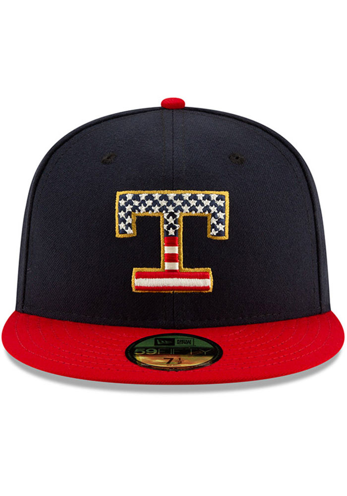 New Era Texas Rangers Mens Red 2019 4th of July 59FIFTY Fitted Hat - Image 3