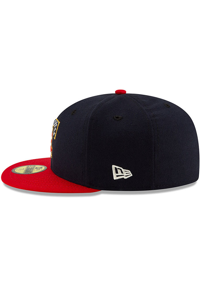 New Era Texas Rangers Mens Red 2019 4th of July 59FIFTY Fitted Hat - Image 4