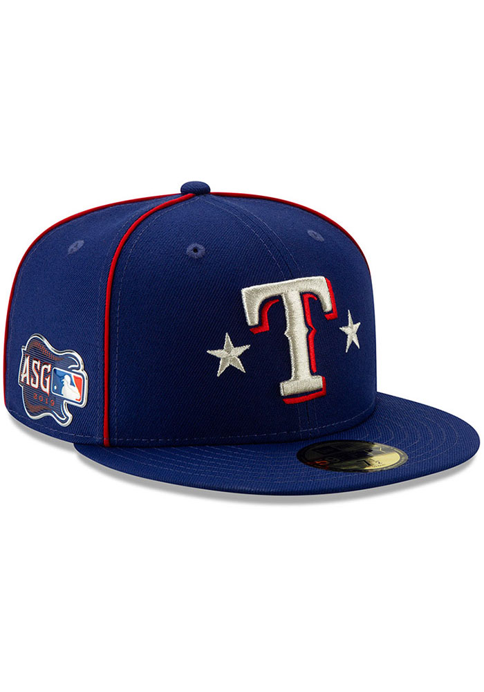 New Era Texas Rangers Mens Blue 2019 All Star 59FIFTY Fitted Hat - Image 2