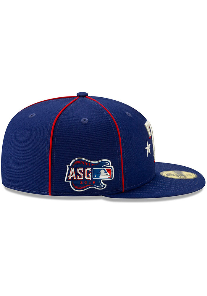 New Era Texas Rangers Mens Blue 2019 All Star 59FIFTY Fitted Hat - Image 6