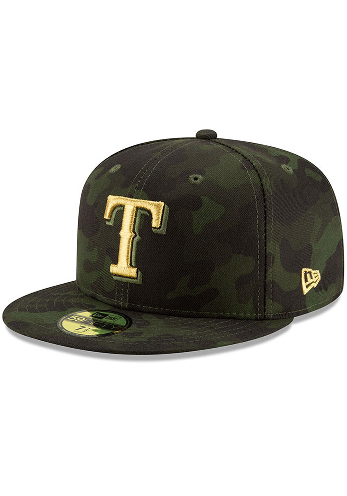 New Era Texas Rangers Mens Green 2019 Armed Forces Day 59FIFTY Fitted Hat - Image 1