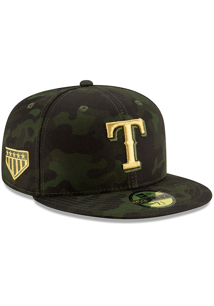 New Era Texas Rangers Mens Green 2019 Armed Forces Day 59FIFTY Fitted Hat - Image 2