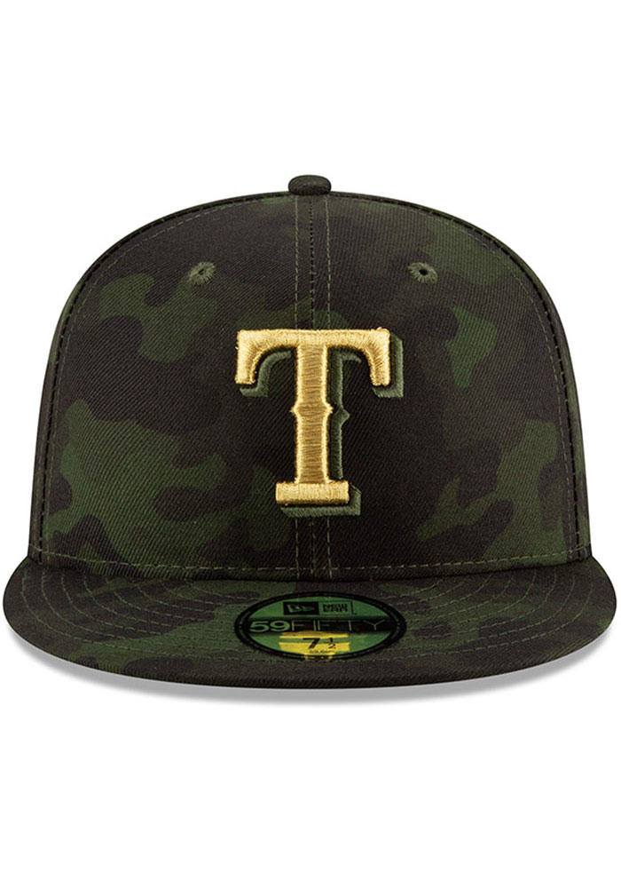 New Era Texas Rangers Mens Green 2019 Armed Forces Day 59FIFTY Fitted Hat - Image 3