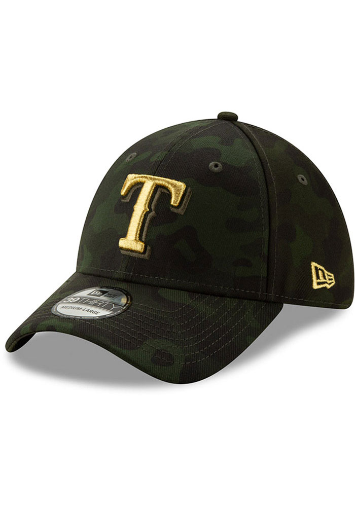 New Era Texas Rangers Mens Green 2019 Armed Forces Day 39THIRTY Flex Hat - Image 1