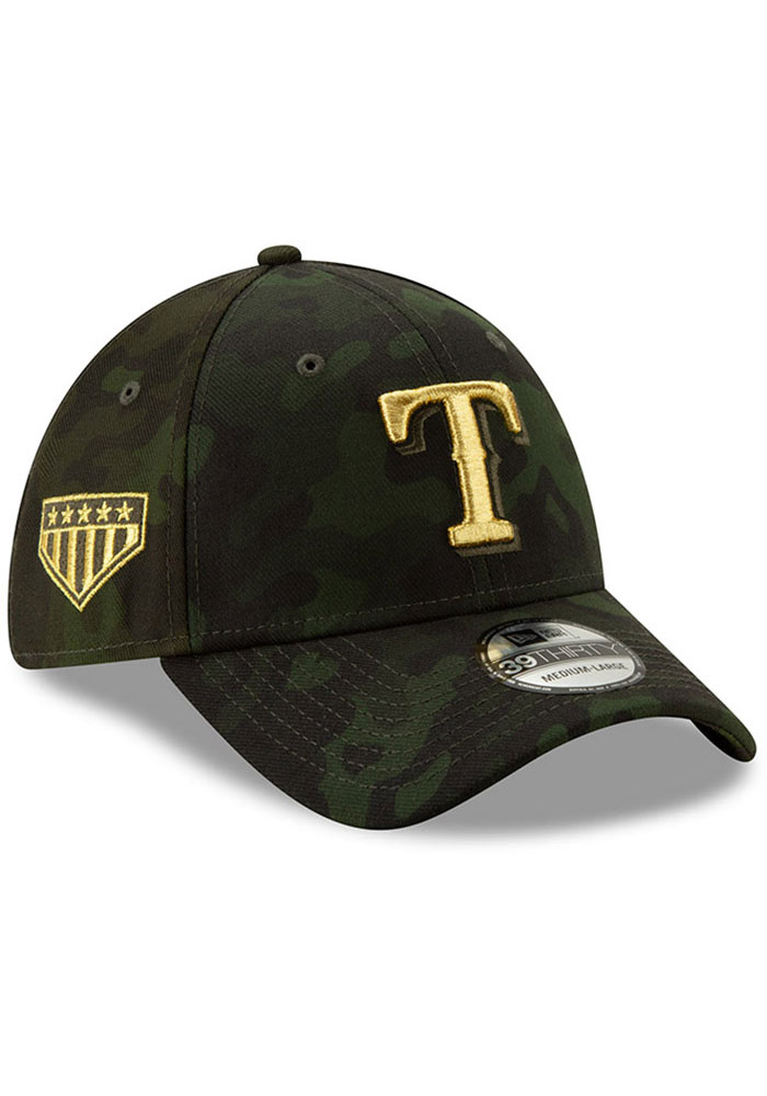 New Era Texas Rangers Mens Green 2019 Armed Forces Day 39THIRTY Flex Hat - Image 2