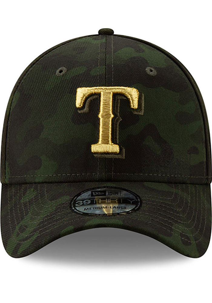 New Era Texas Rangers Mens Green 2019 Armed Forces Day 39THIRTY Flex Hat - Image 3