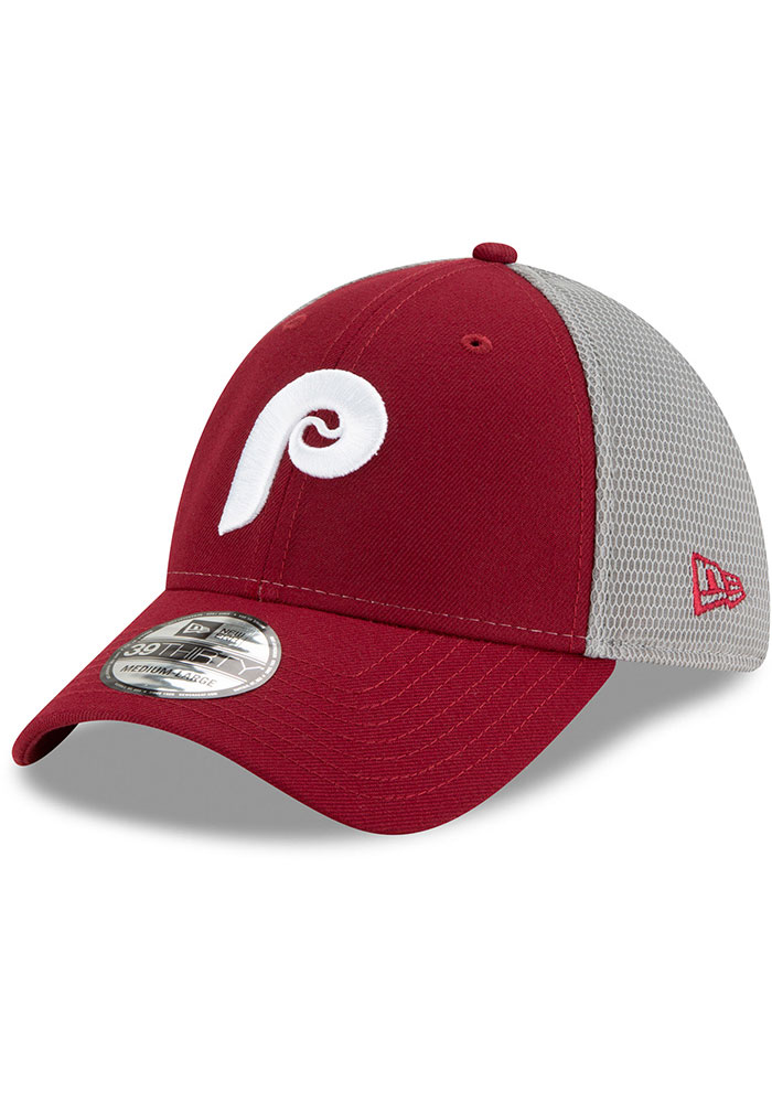 New Era Philadelphia Phillies Mens Maroon 2T Sided Coop 39THIRTY Flex Hat - Image 1
