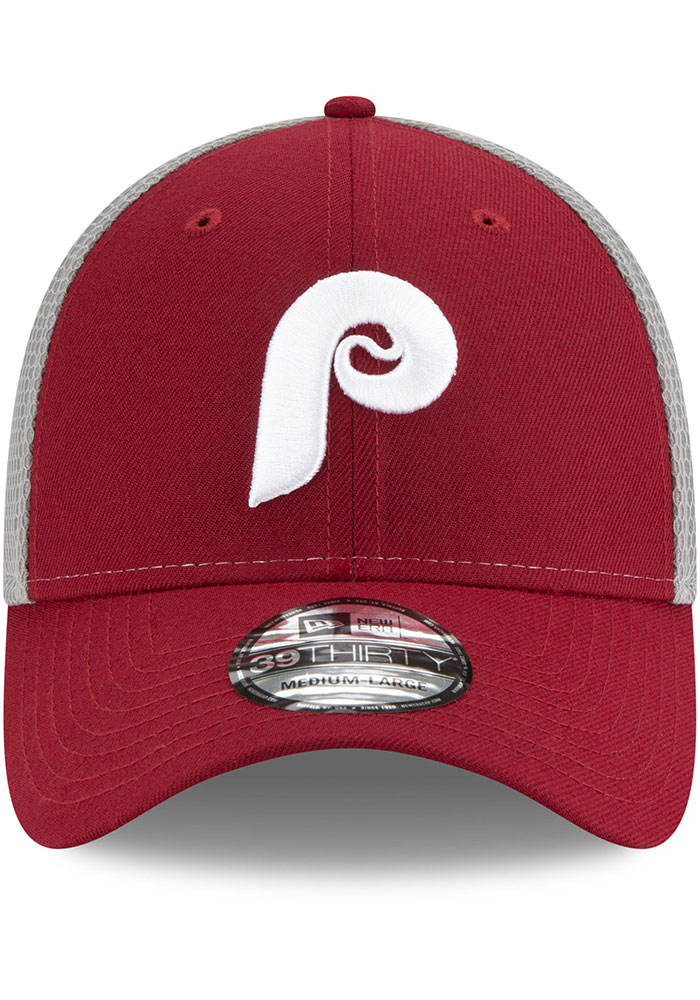 New Era Philadelphia Phillies Mens Maroon 2T Sided Coop 39THIRTY Flex Hat - Image 3