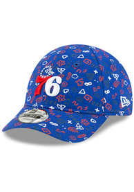New Era Philadelphia 76ers Baby Pattern 9FORTY Adjustable Hat - Blue