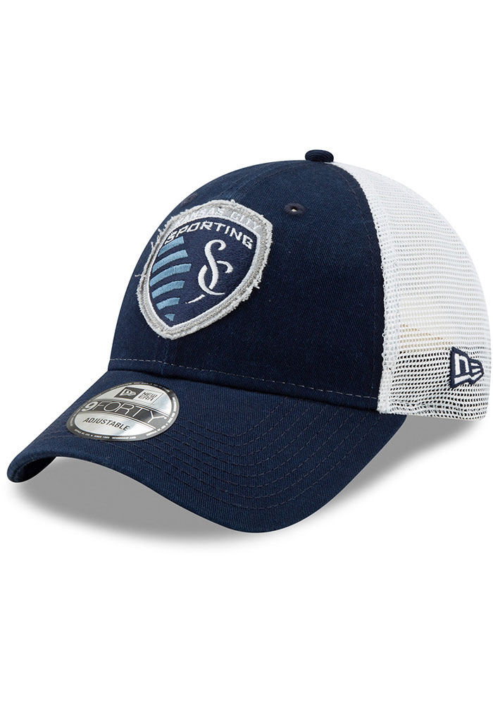New Era Sporting Kansas City Navy Blue JR Team Truckered 9TWENTY Youth Adjustable Hat - Image 1