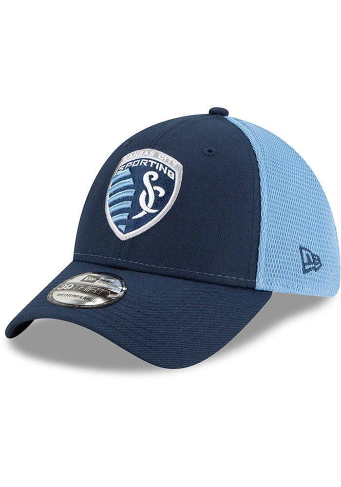 New Era Sporting Kansas City Mens Navy Blue 2T Sided 39THIRTY Flex Hat - Image 1