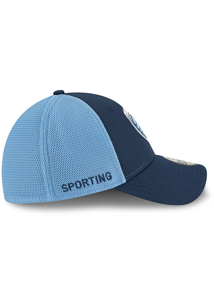 New Era Sporting Kansas City Mens Navy Blue 2T Sided 39THIRTY Flex Hat - Image 6