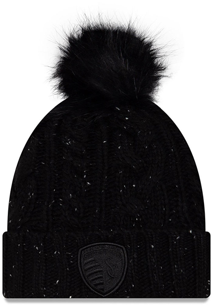 New Era Sporting Kansas City Black Fuzzy Pom Womens Knit Hat - Image 2