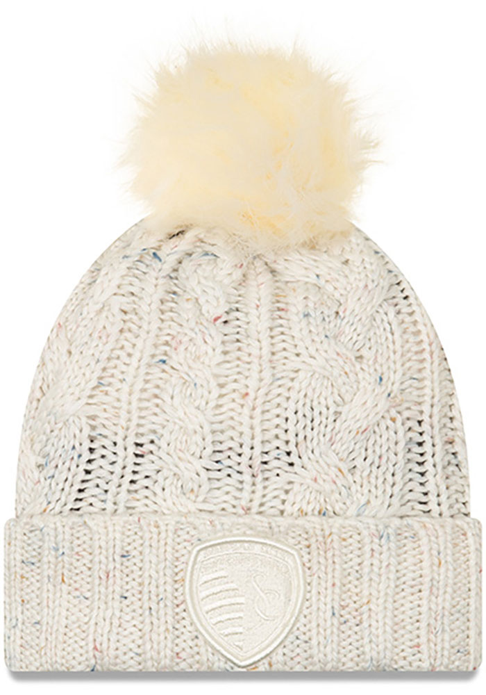 New Era Sporting Kansas City White Fuzzy Pom Womens Knit Hat - Image 1