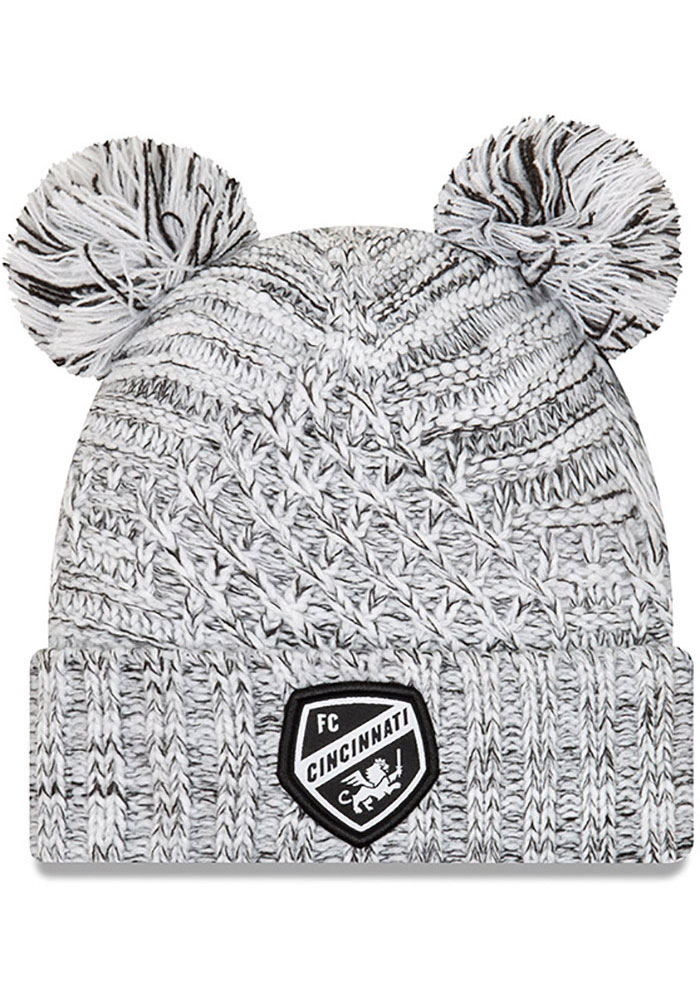 New Era FC Cincinnati White Pom Duel Cuff Womens Knit Hat - Image 1