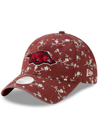 New Era Arkansas Razorbacks Womens Cardinal Blossom 9TWENTY Adjustable Hat