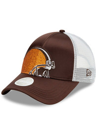 Cleveland Browns Womens New Era Satin Shine 9FORTY Adjustable - Brown