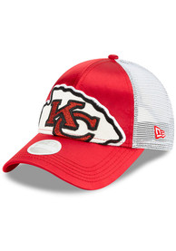 8026f5c8 New Era Kansas City Chiefs Womens Red Satin Shine 9FORTY Adjustable Hat