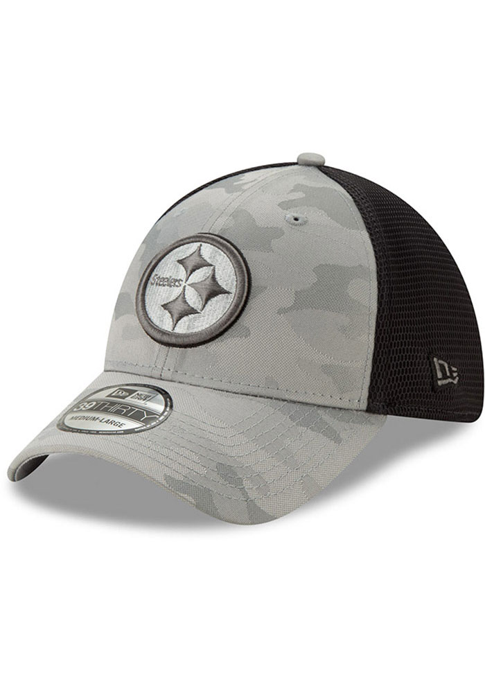 New Era Pittsburgh Steelers Mens Grey Camo Front Neo 39THIRTY Flex Hat - Image 1