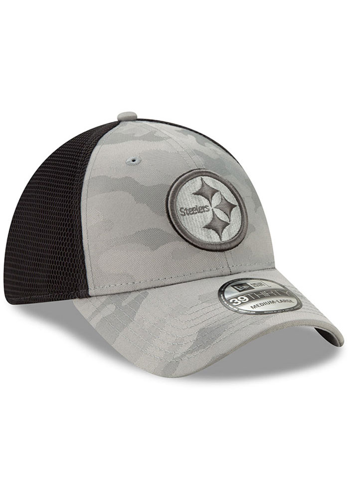 New Era Pittsburgh Steelers Mens Grey Camo Front Neo 39THIRTY Flex Hat - Image 2
