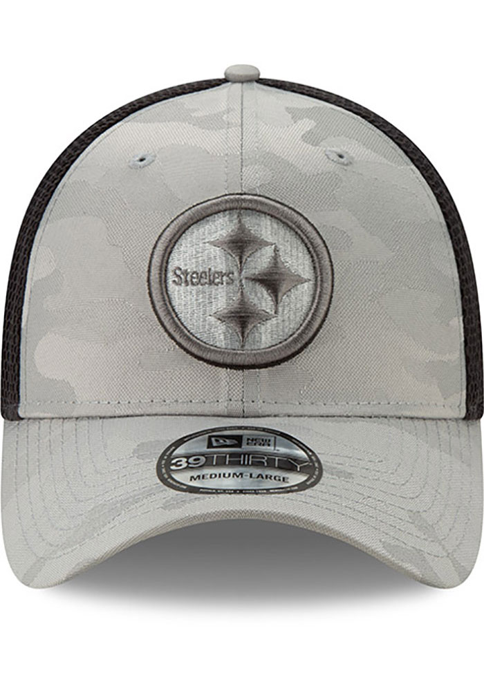 New Era Pittsburgh Steelers Mens Grey Camo Front Neo 39THIRTY Flex Hat - Image 3