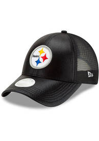 Pittsburgh Steelers Womens New Era Glittered 9FORTY Adjustable - Black