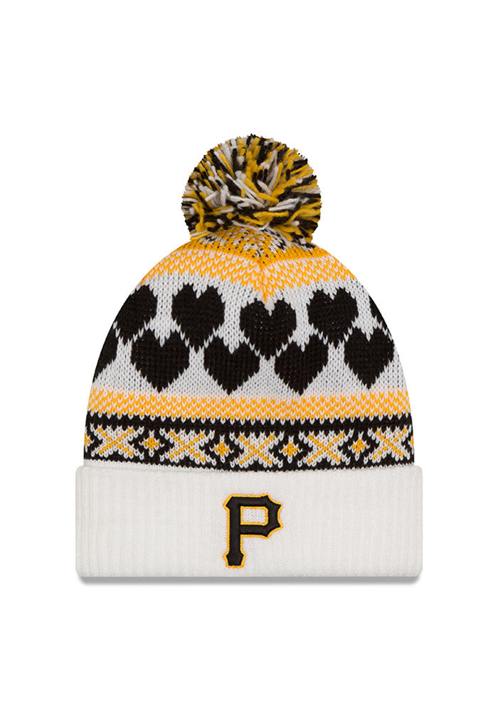 New Era Pittsburgh Pirates White Winter Cutie Womens Knit Hat - Image 1