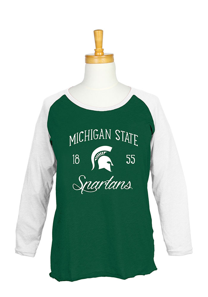 Michigan State Spartans Womens Green Raglan Long Sleeve Plus Size T-Shirt - Image 1