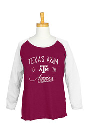Texas A&M Womens Raglan Maroon Plus Size T-Shirt