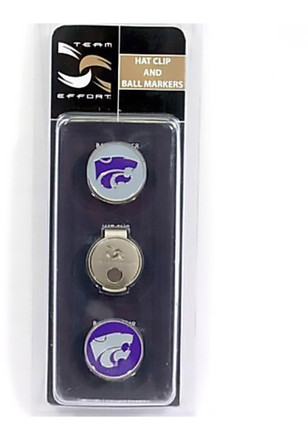 K-State Wildcats Hat Clip and 2 Ball Markers Golf Balls