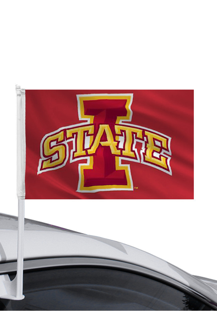 Iowa State Cyclones 11x16 Red Silk Screen Car Flag - Image 1