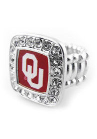 Oklahoma Sooners Womens Stretch Ring - Silver