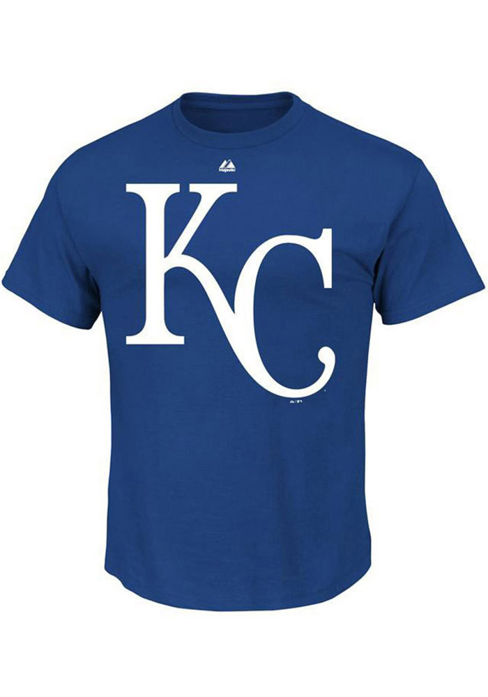 Majestic Kansas City Royals Mens Blue Logo Short Sleeve T Shirt - Image 1