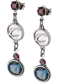 Cleveland Cavaliers Womens Crystal Logo Earrings - Blue