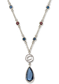 Cleveland Cavaliers Womens Crystal Logo Necklace - Blue